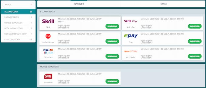 22Bet betalingsmetoder