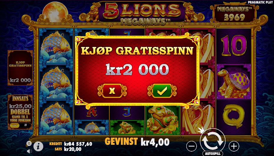 5 Lions Megaways™ bonus buy-funksjon