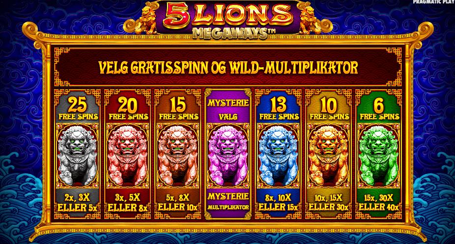 5 Lions Megaways™ free spins alternativer