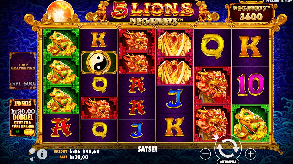 Spilleautomaten 5 Lions Megaways™ hovedspill