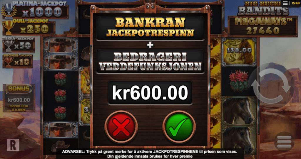Big Bucks Bandits Megaways™ bonus buy-funksjon