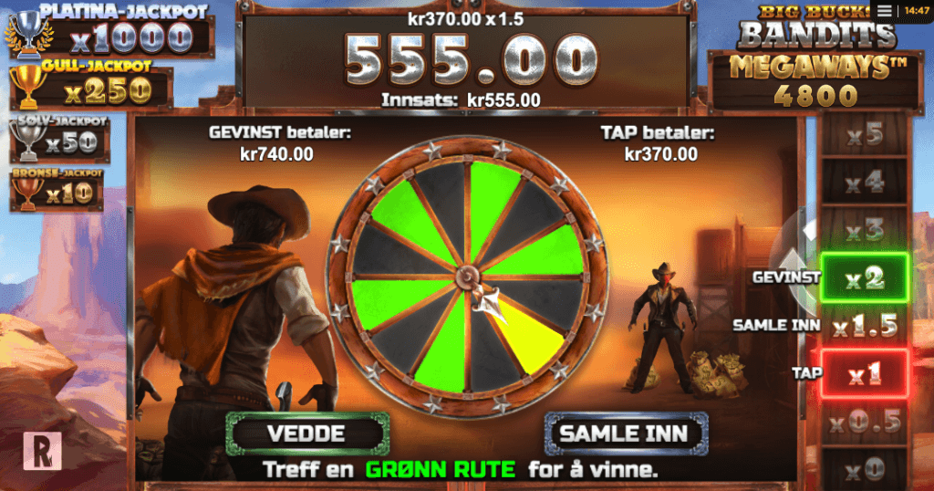 Big Bucks Bandits Megaways™ gamble-funksjon