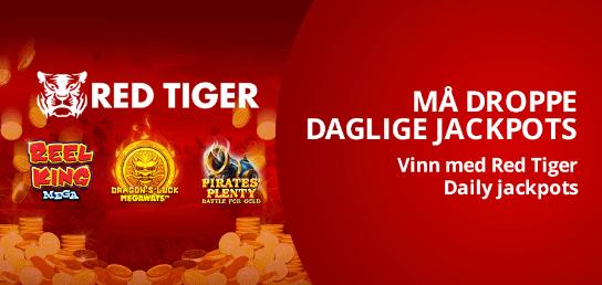 CasiGO daglige jackpotter på Red Tiger-spilleautomater