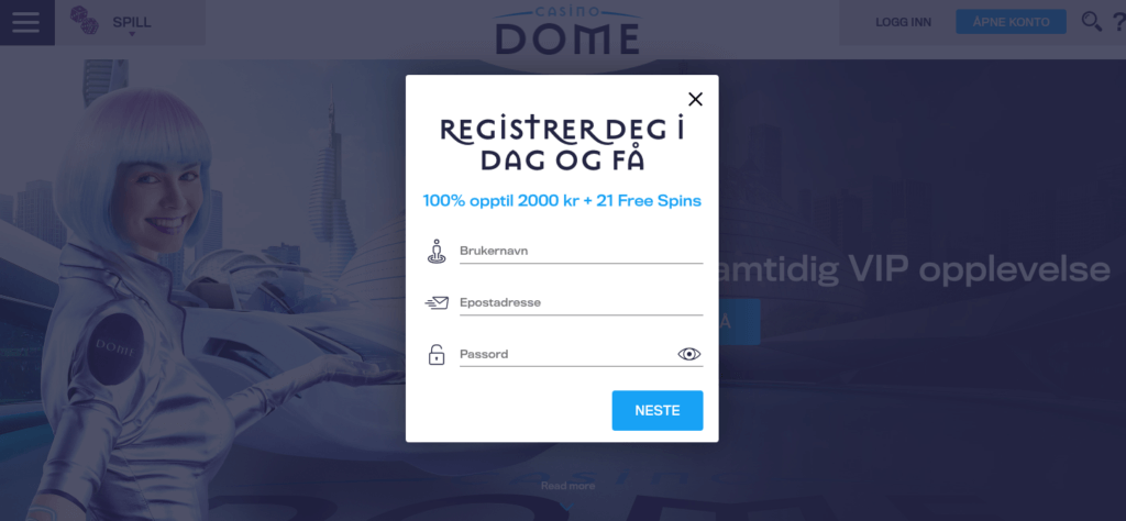 Casino Dome registrering