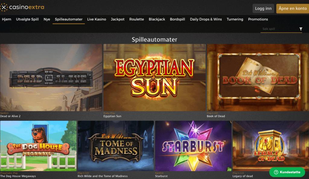 CasinoExtra forside med spilleautomater