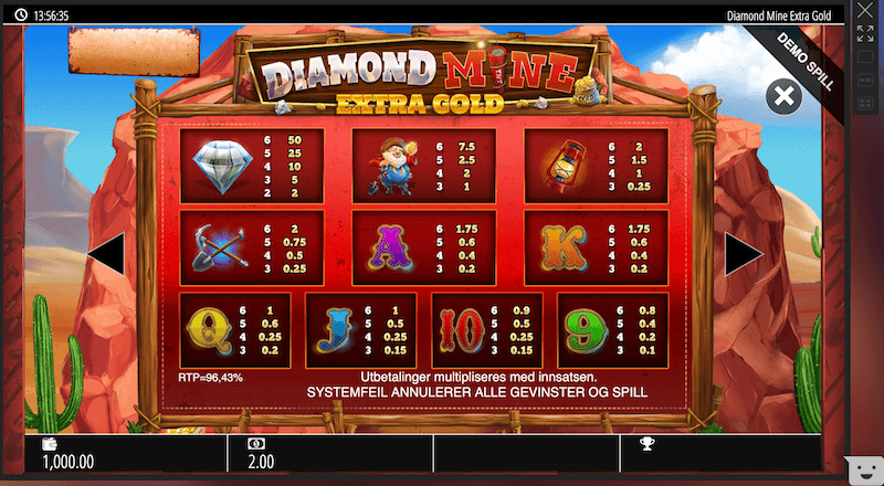 Casino_Diamond Extra Gold Megaways - utbetalingstabell
