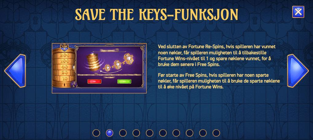 Cosex of Fortune - Save the Keys-funksjon
