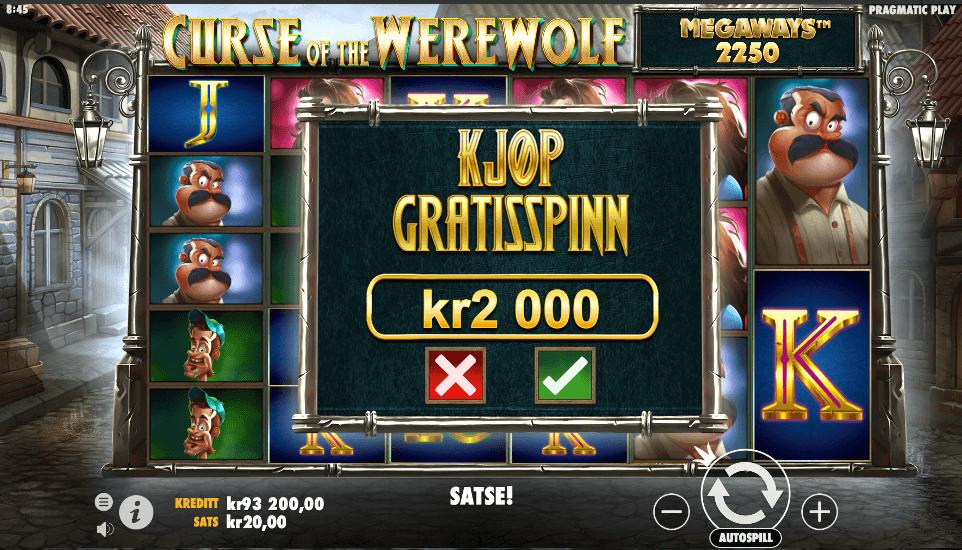 Bonus buy-funksjonen på spilleautomaten Curse of the Werewolf Megaways™