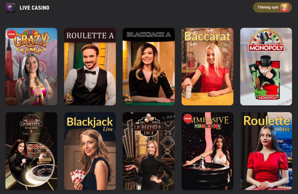 Fezbet spillutvalg med Live Casino