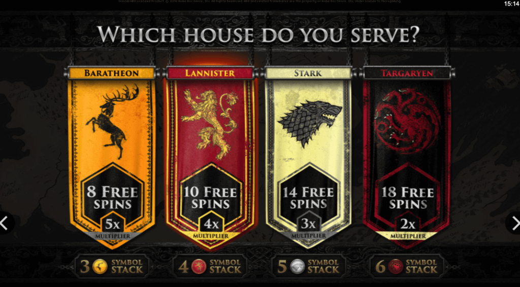 Game of Thrones free spins valg