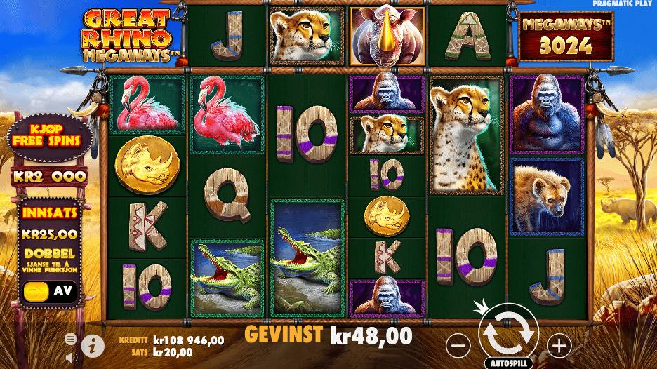 Spilleautomaten Great Rhino Megaways™ av Pragmatic Play