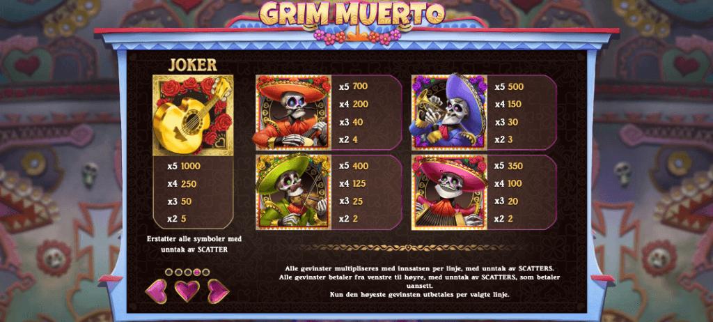 Grim Muerto utbetalingstabell - høye symboler