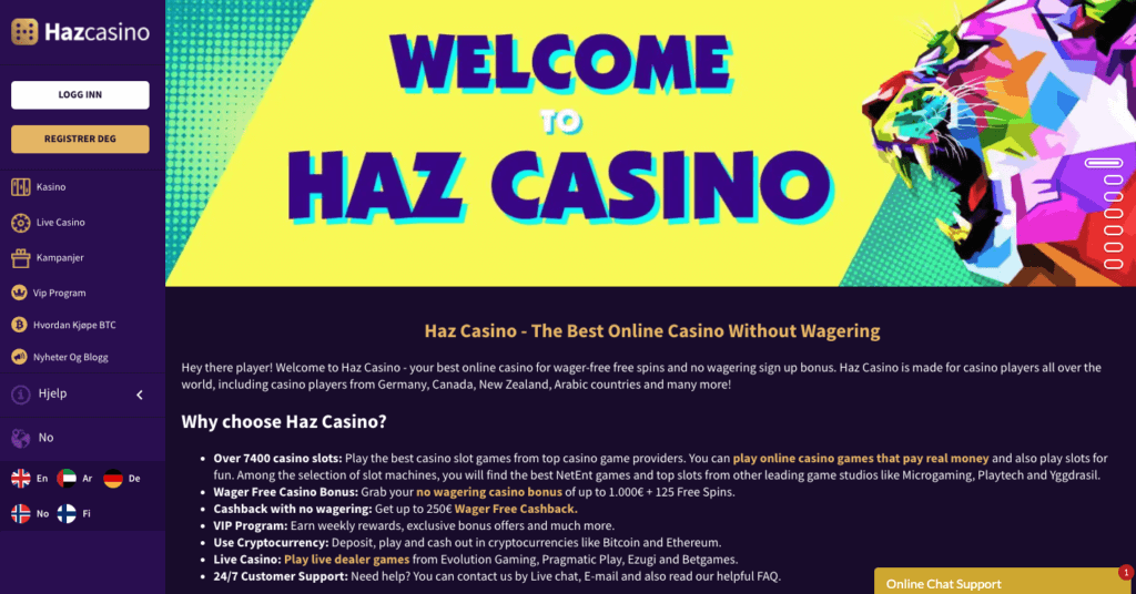 Haz Casino forside