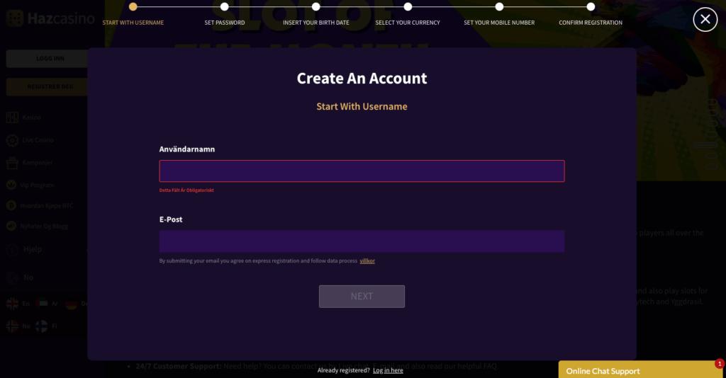 Haz Casino registrering