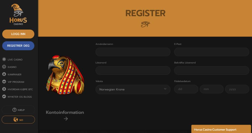 Horus Casino registrering