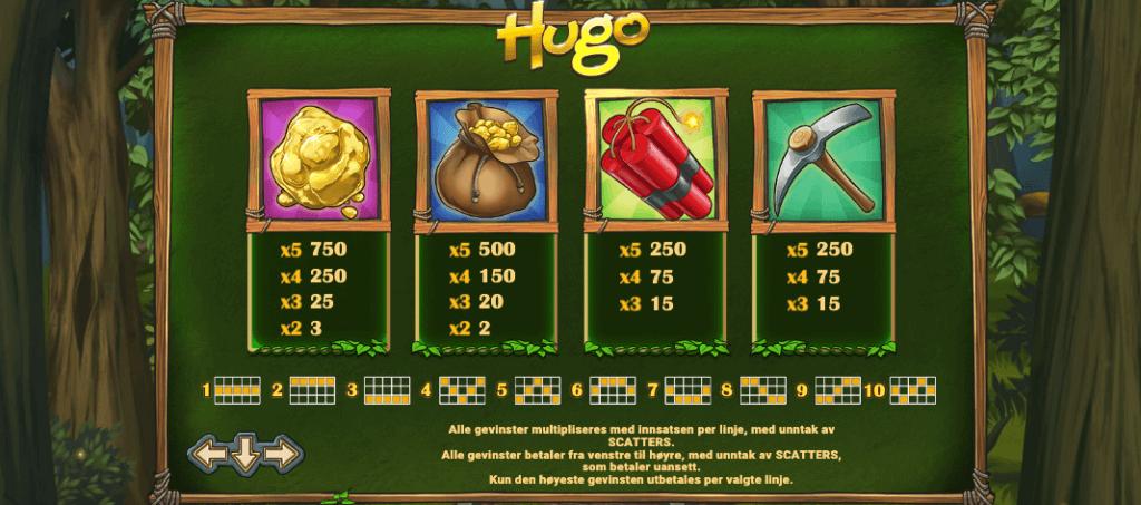 Hugo - høytbetalende symboler