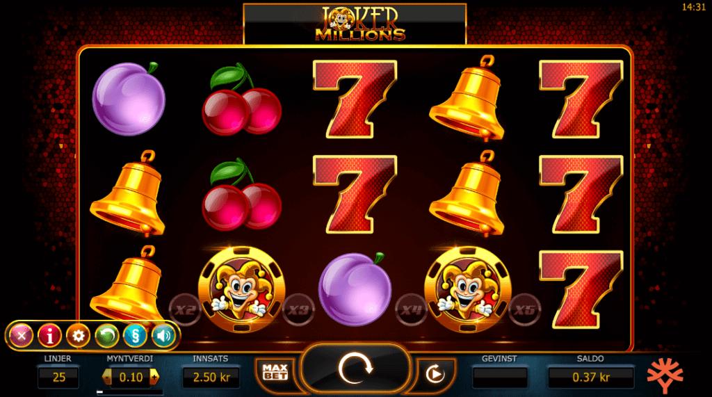 Jackpot spilleautomaten Joker Millions