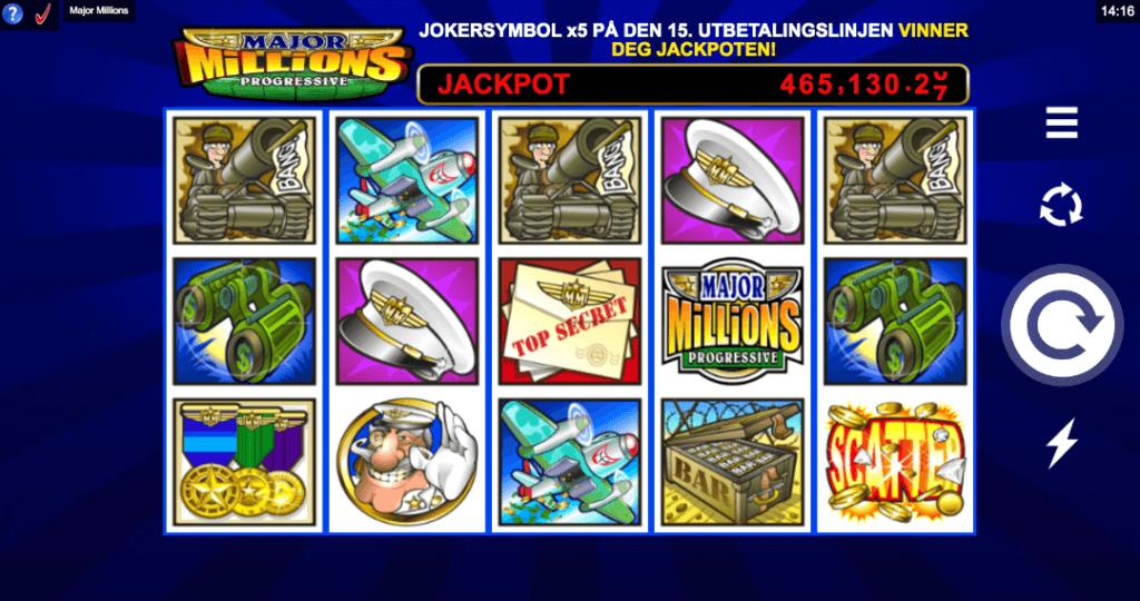 Jackpot spilleautomaten Major Millions