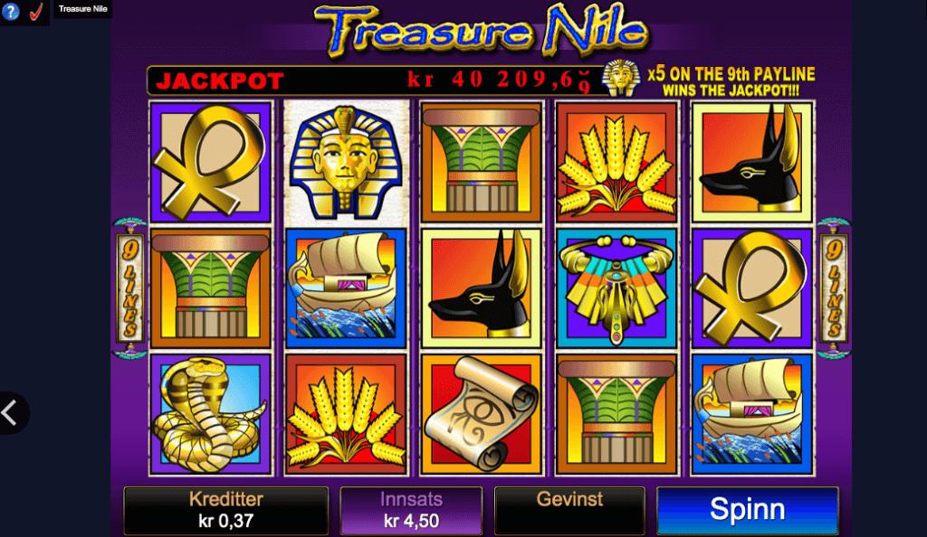 Jackpot spilleautomaten Treasure Nile