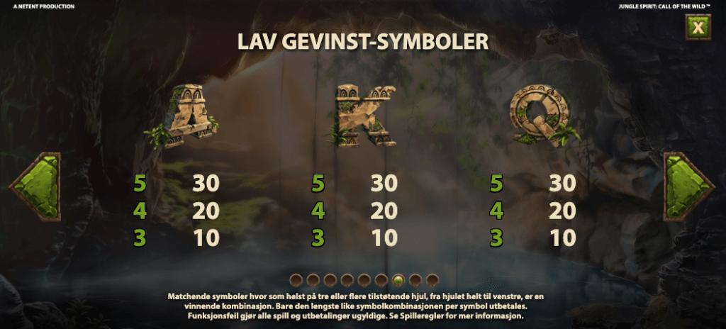 Jungle Spirit Call of the Wild utbetalingstabell - lave symboler