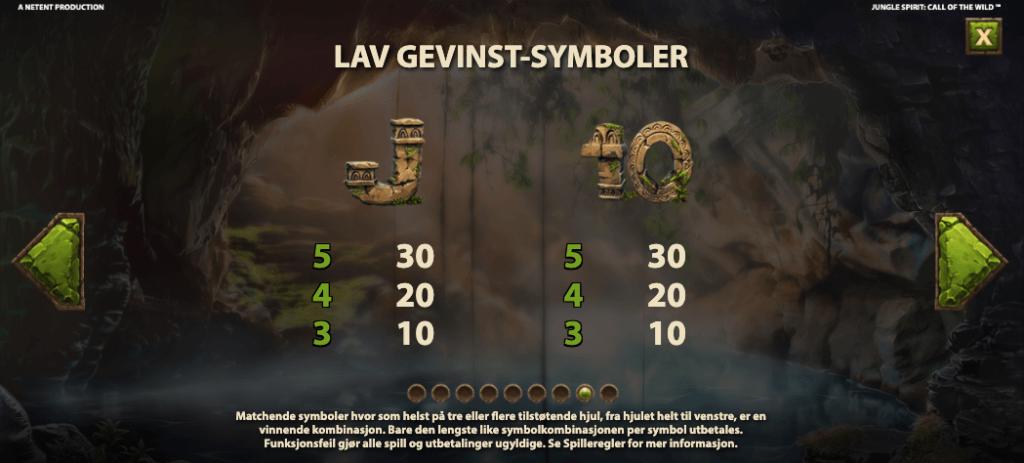 Jungle Spirit Call of the Wild utbetalingstabell - laveste symboler
