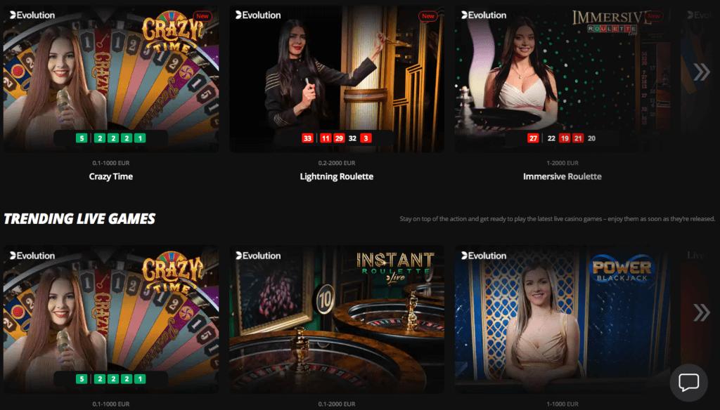 LV Bet Casino - Live Casino