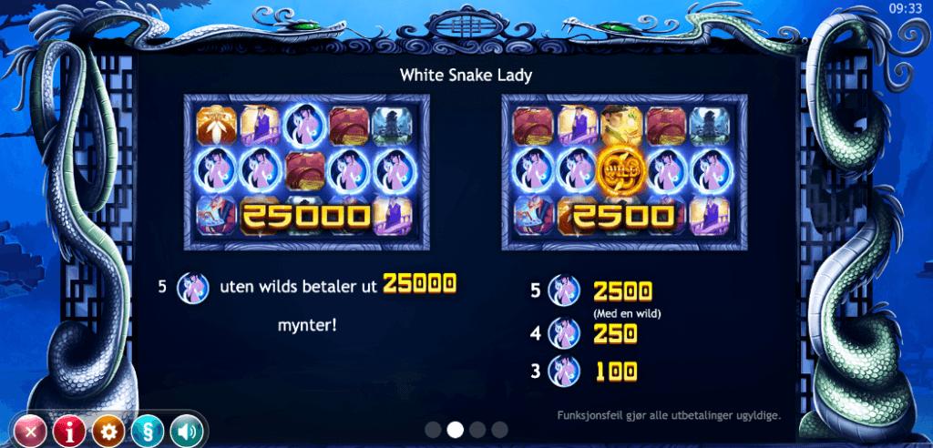 Legend of the White Snake Lady utbetalingstabell - høye symboler