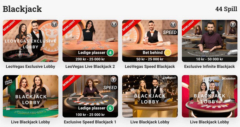 LeoVegas - Blackjack-lobby