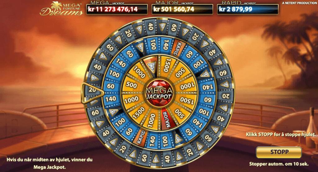 Mega Fortune Dreams jackpot-lykkehjul