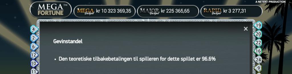 Mega Fortune - Informasjon om RTP i spillet.