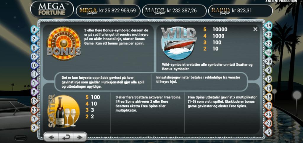Mega Fortune - Bonus, wild og scatter