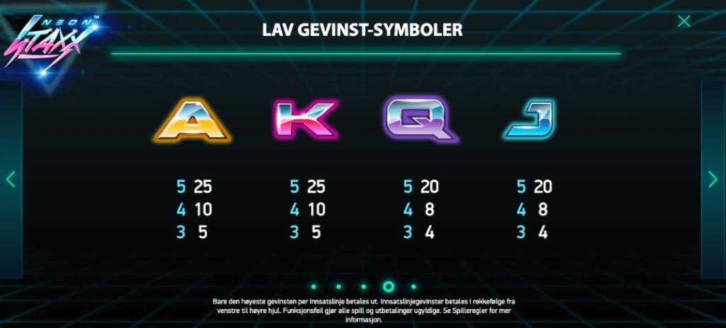 Neon Staxx utbetalingstabell - lave symboler