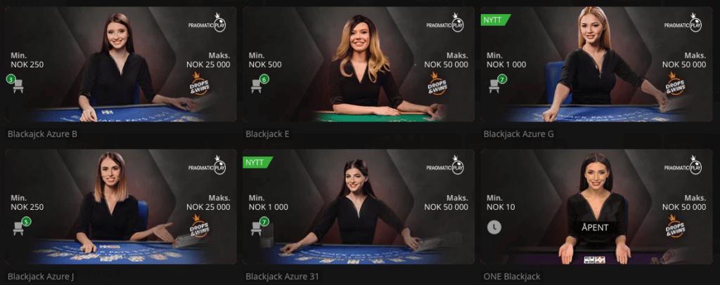 Live Casino fra Pragmatic Play hos Betsson