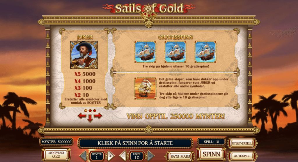 Sails of Gold utbetalingstabell