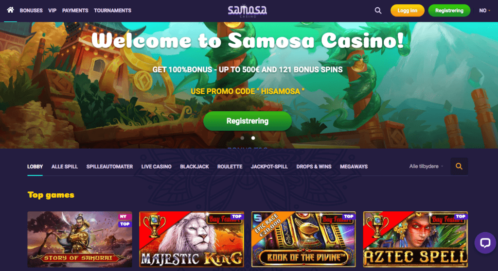 Samosa Casino forside