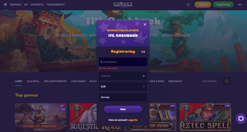 Samosa Casino registrering
