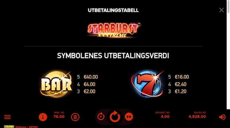 Starburst XXXtreme - utbetalingstabell - symboler med høy verdi