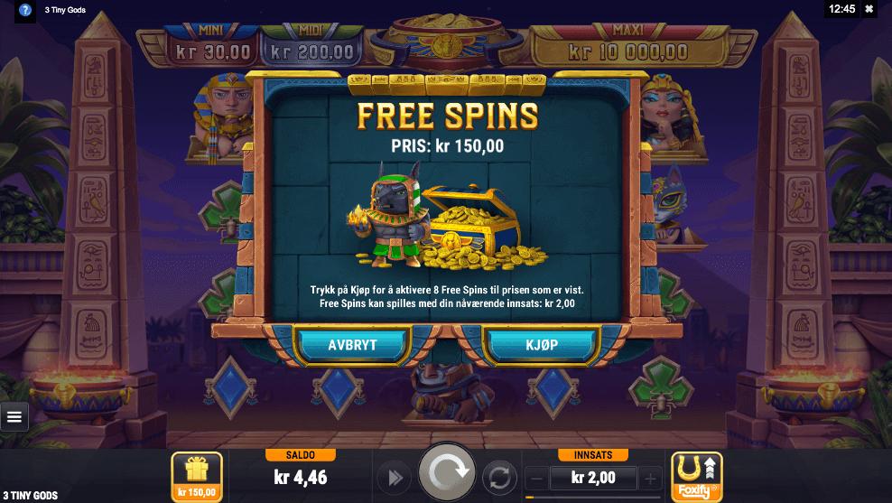 Three Tiny Gods bonus buy-funksjon