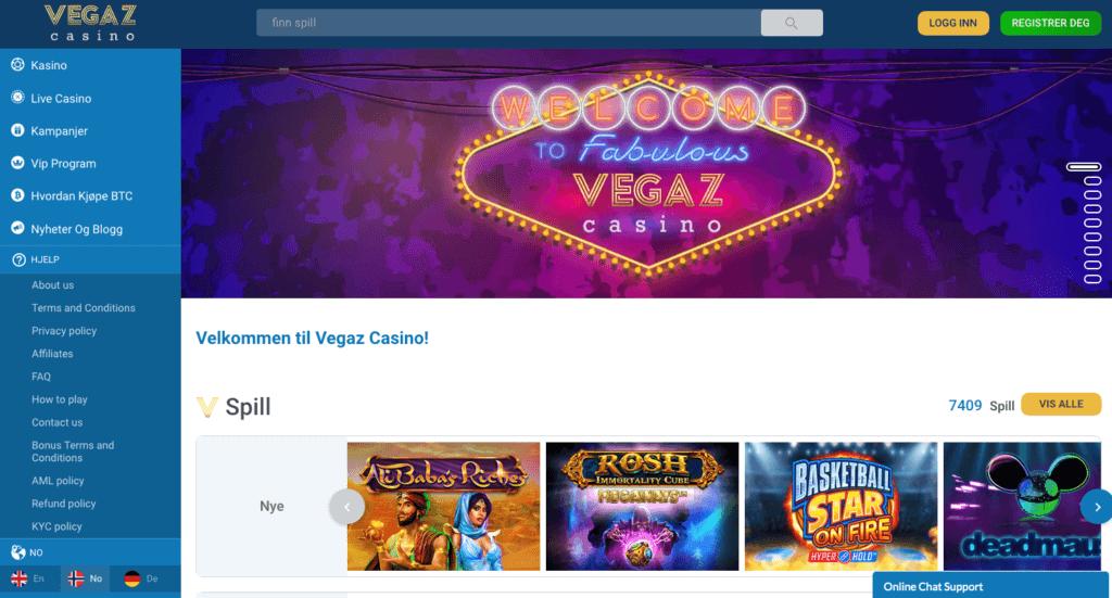 Vegaz Casino forside