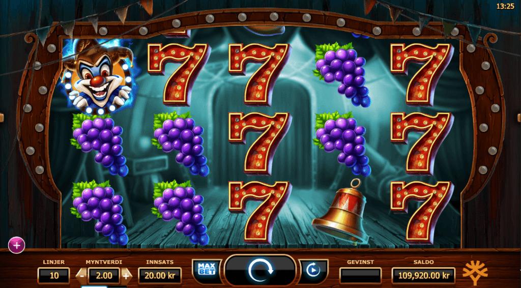 Spilleautomaten WIcked Circus av Yggdrasil