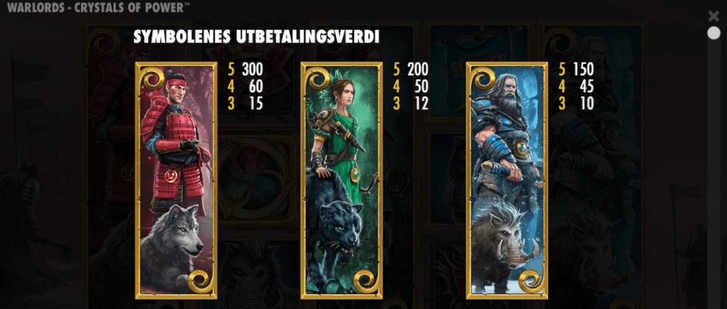 Warlords: Crystals of Power utbetalingstabell - høye symboler