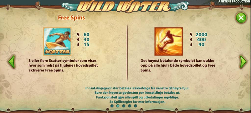 Wild Water scatter og høyt symbol
