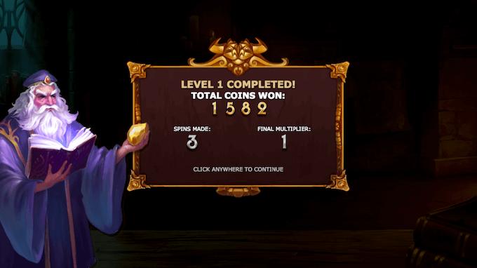 Fullført nivå på spilleautomaten Alchymedes