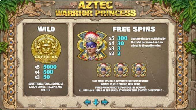 Aztec Warrior Princess free spins