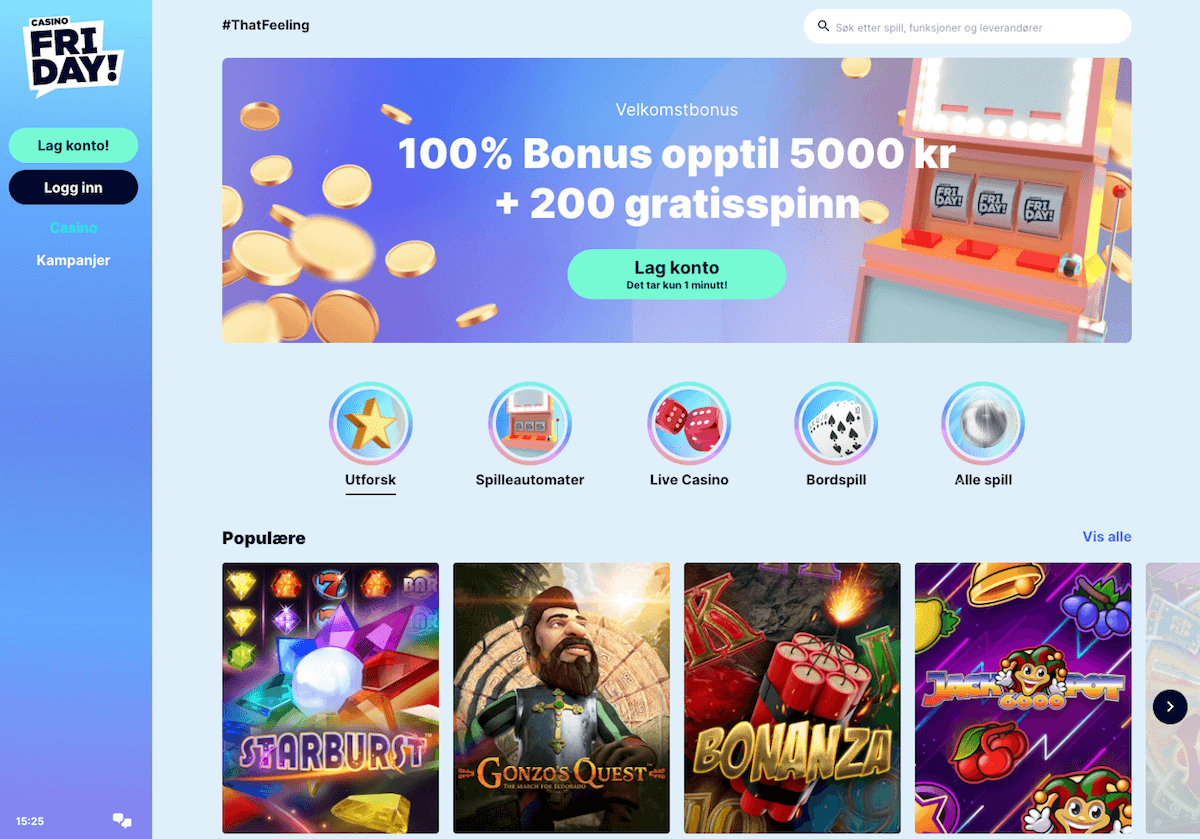 CasinoFriday forside