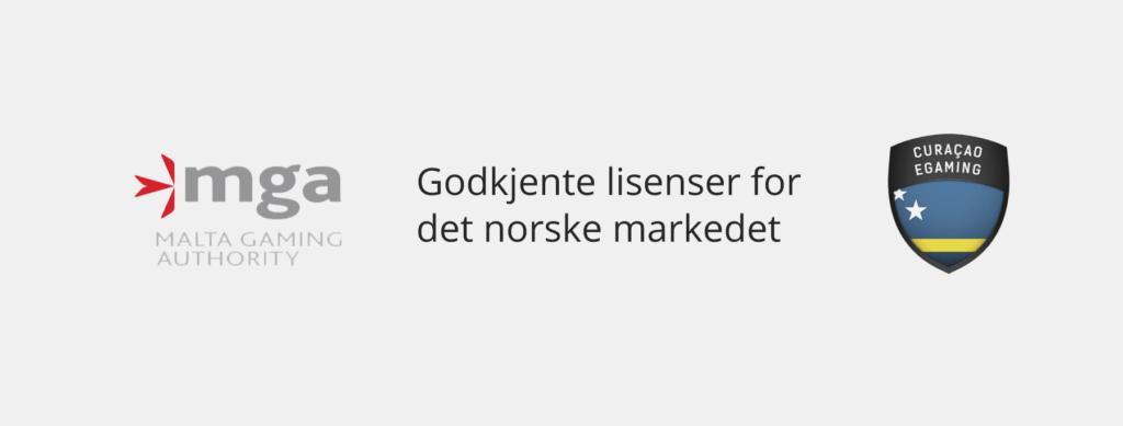 Godkjente casinolisenser for Norge