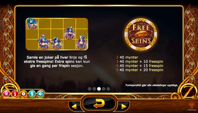Informasjon om hvordan free spins fungerer på spilleautomaten Cazino Zeppelin