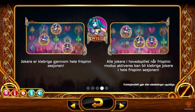 Informasjon om Joker wilds på spilleautomaten Cazino Zeppelin
