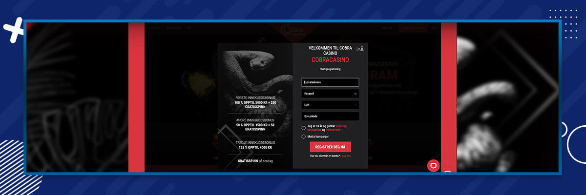 Cobracasino registrering