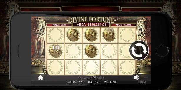 Divine Fortune gir ekstra spenning på mobilen